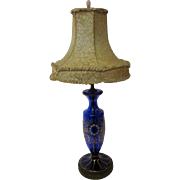 Moser Bohemian Cobalt Blue Art Glass Lamp