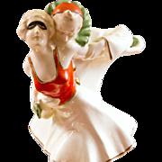 Art Deco Pierrot and Pierrette Porcelain Figurine