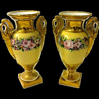 Antique Old Paris Porcelain Napoleon III Urn Pair