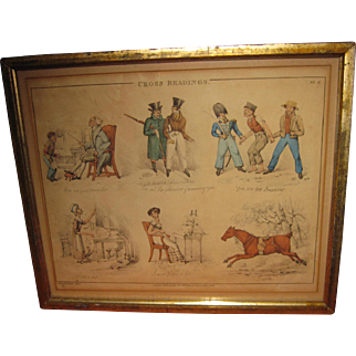 Antique British Caricature Hand Colored Etching by Peter Pasquin