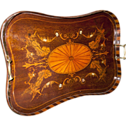 English Regency Mahogany Tray with Fancy Inlay