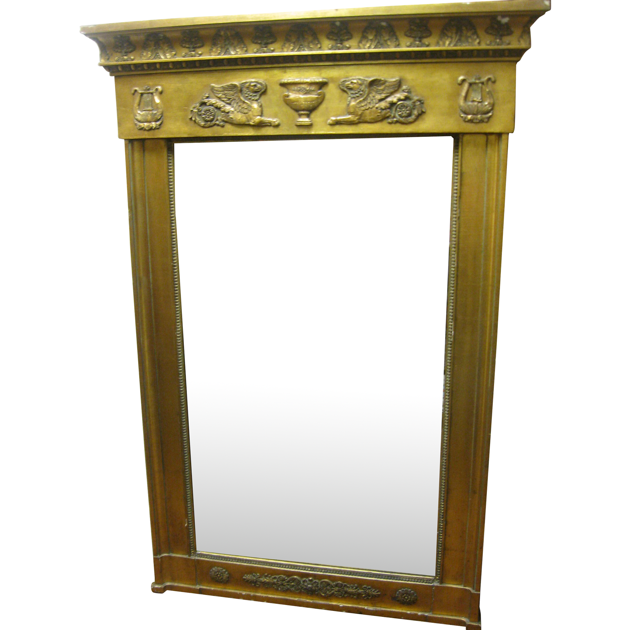 Antique french empire giltwood mirror from for Antique french mirror