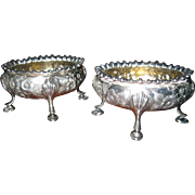 Antique Sterling Silver Repoussé English Salts Pair