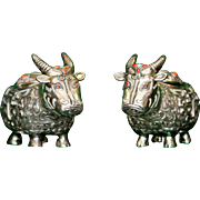 Antique Chinese Silver Oxen Boxes