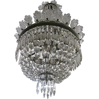 Antique Crystal French Empire Style Chandelier