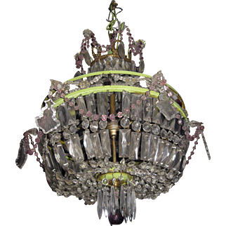 Regency Style Crystal, Brass and Painted Metal Chandelier