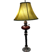19th Century American Twisted Glass Column Oil Lamp