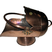 Antique Scottish Helmet Copper Coal Scuttle