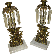19th Century Brass and Crystal Girandoles