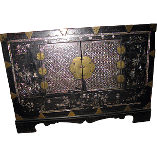 19th Century Chinese Chest Mother of Pearl Inlay