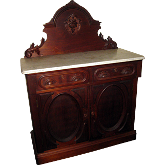 19th Century Victorian Walnut Server Sideboard