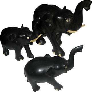 Anglo-Indian Carved Wood Elephant Trio