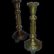 19th Century Brass Candlesticks Grape Vine Motif