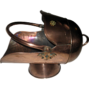 19th Century Scottish Helmet Copper Coal Scuttle
