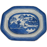 Early Chinese Export Blue and White Canton Ware Deep Platter