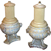 19th Century Italian Spongeware Urn Lamp Pair