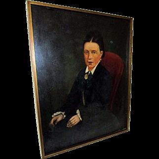 American Primitive Oil Portrait of a Lady