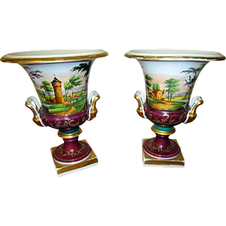 Pair of Antique Vieux Paris Campagna Form Urns