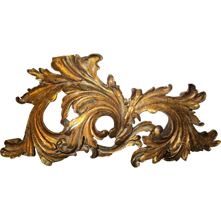 19th Century Giltwood Architectural Element Bed Crown