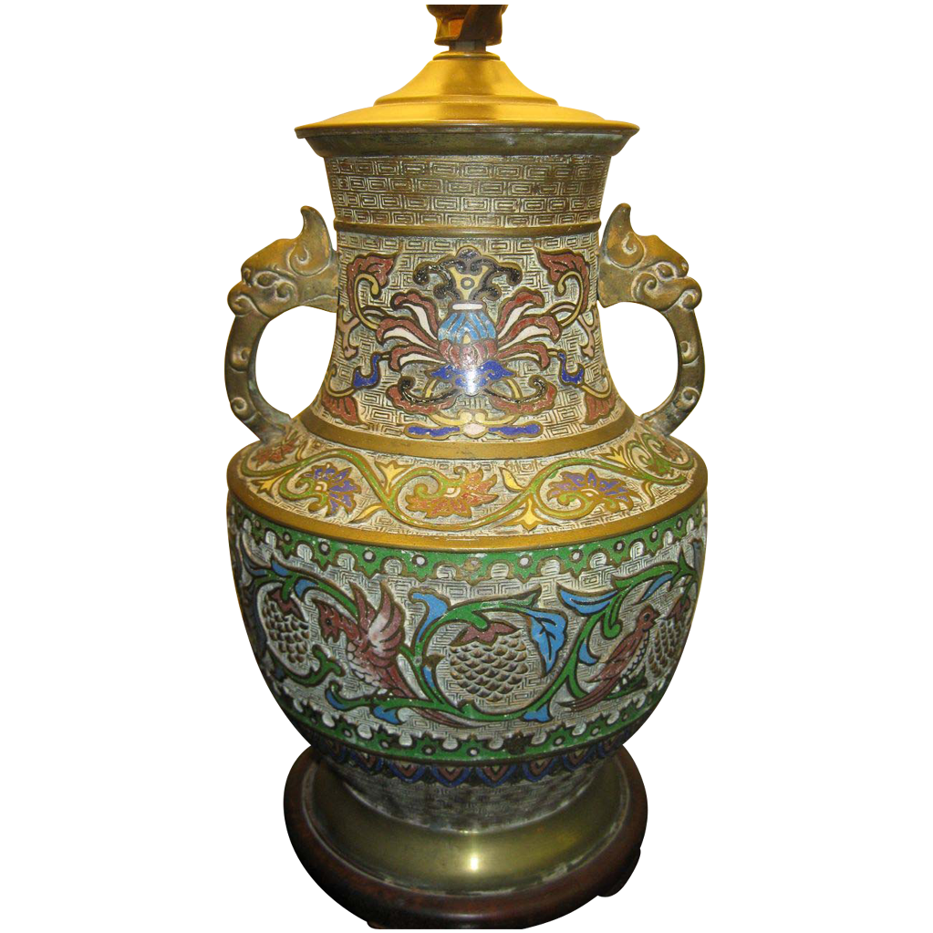19th Century Champleve Romanesque Style Lamp From