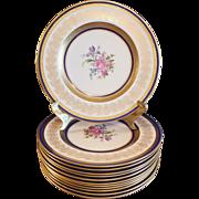 Vintage Cobalt Blue 22 Kt. Gold Bone China Dinner Plates (12)