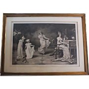 "Large Antique Print ""When the Heart is Young"" Maude Goodman"