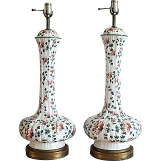 Pair Large Vintage Floral Fluted Genie Bottle Lamps
