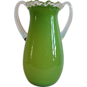 """Chartreuse GREEN Controlled Bubble Art Glass 13.5"""" Vase"""