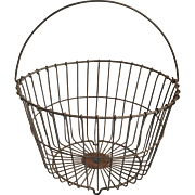 Vintage Primitive Wire Metal Egg Basket