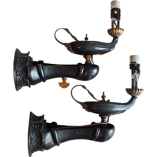 Antique Moorish Revival Aladdin Genie's Lamp Wall Sconces