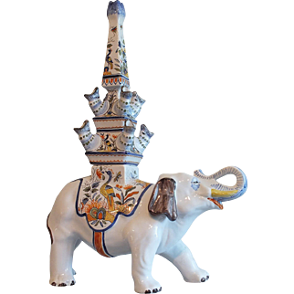 French Faience Elephant Tulipiere for Tiffany & Co.