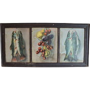 Antique Framed Three-Panel Victorian Chromolithograph