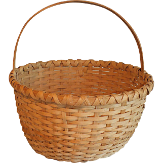 Vintage 1980 Lucy Cook Large Split White Oak Basket