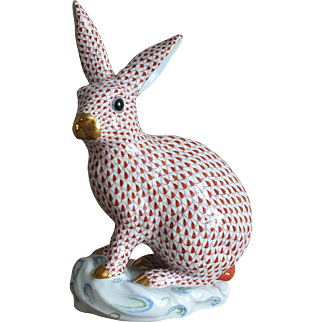 "Large Rare 12"" Herend Rabbit in Rust Fishnet w/24 kt Gold"