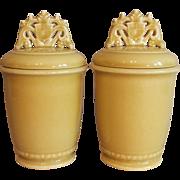 Pair 1940 Rookwood Pottery Yellow Gloss Lidded Jars