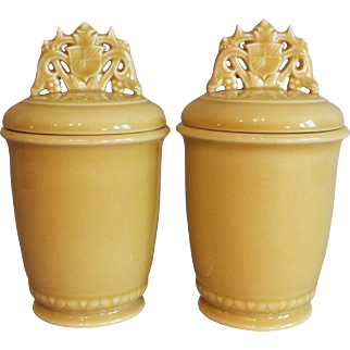 Pair 1940 Rookwood Pottery Lidded Jars with Crest Handles