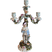 Antique Sitzendorf German Three-Arm Porcelain Candelabra