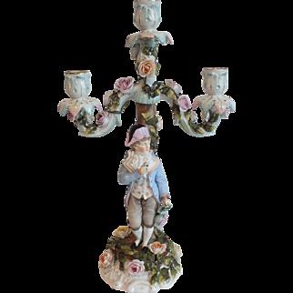 Antique Dresden German Three-Arm Porcelain Candelabra