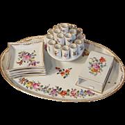 Dresden Saxony Porcelain  Carl Thieme Cigarette Serving Set