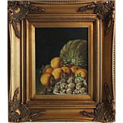 Autumn Harvest Still Life Oil on Canvas, Signed