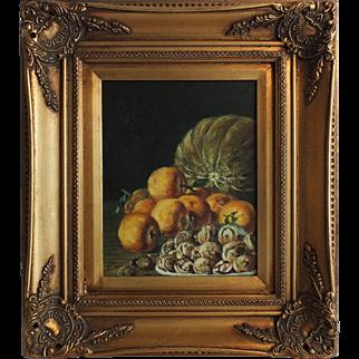 Autumn Harvest Still Life Oil on Canvas, Signed
