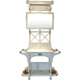 Victorian Era Painted Hall Stand with Mirror
