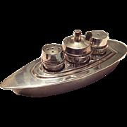 Unique vintage Silverplate Salt, Pepper, Mustard Set in Ship