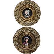 Pair of 19th c. Porcelain Portrait Plates, Hand Painted w/Embossed Brass Frames