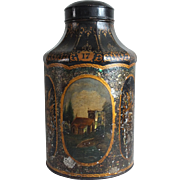 Large Tole-Painted Tea Canister, Mother-of-Pearl Late 19th c.