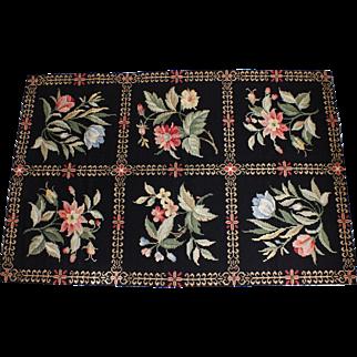 Vintage 3 x 5 Needlepoint Black & Floral Panel Rug