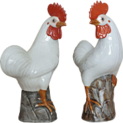 Pair Chinese Porcelain Rooster Figurines