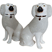 Vintage Pair English Staffordshire Poodles, Crackle Glaze