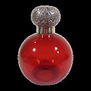 Large English Hallmarked 1889, Cranberry Glass Perfume Bottle
