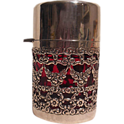 Antique Cranberry Cut Crystal and Sterling Silver Vanity/Perfume Bottle